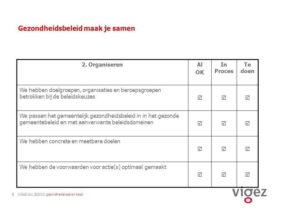 VIGeZ vzw, ©2010, gezondheidsraad en daad5 Gezondheidsbeleid maak je samen 2.