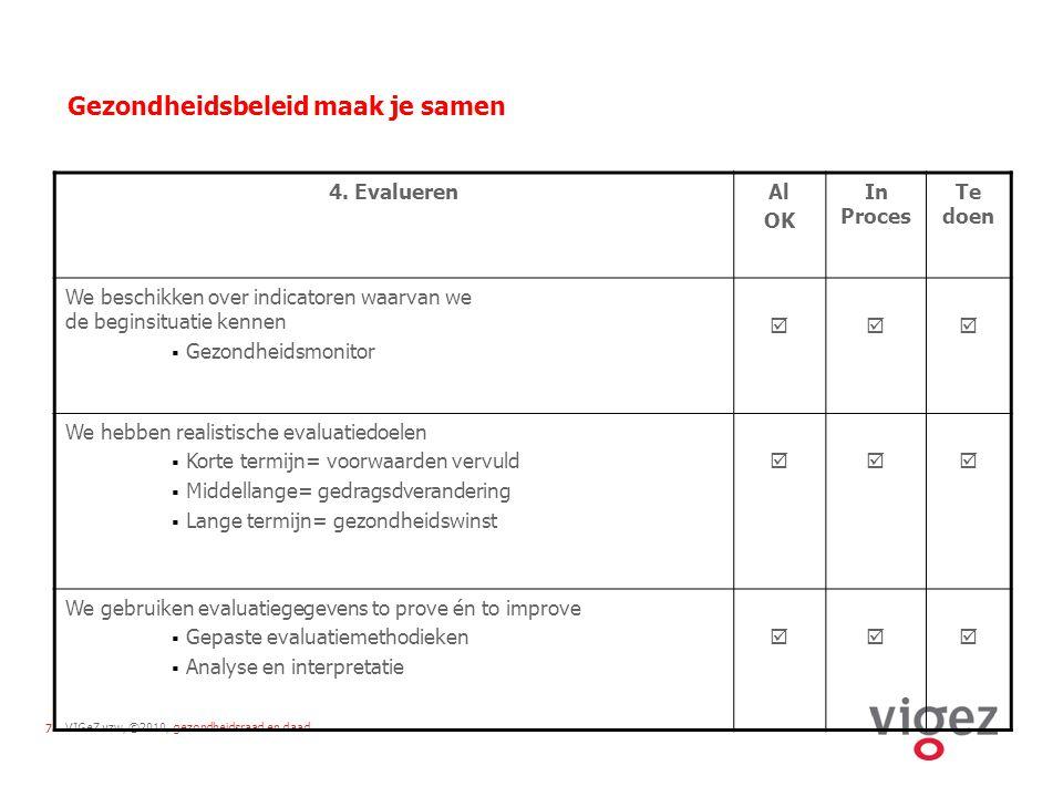 VIGeZ vzw, ©2010, gezondheidsraad en daad7 Gezondheidsbeleid maak je samen 4.