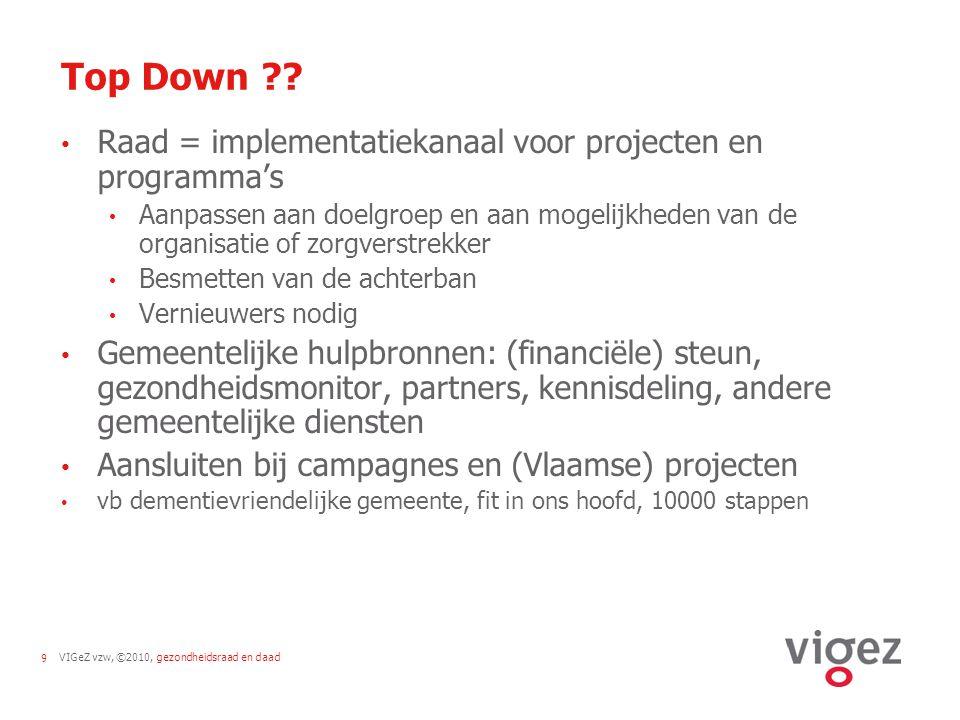 VIGeZ vzw, ©2010, gezondheidsraad en daad9 Top Down ?.