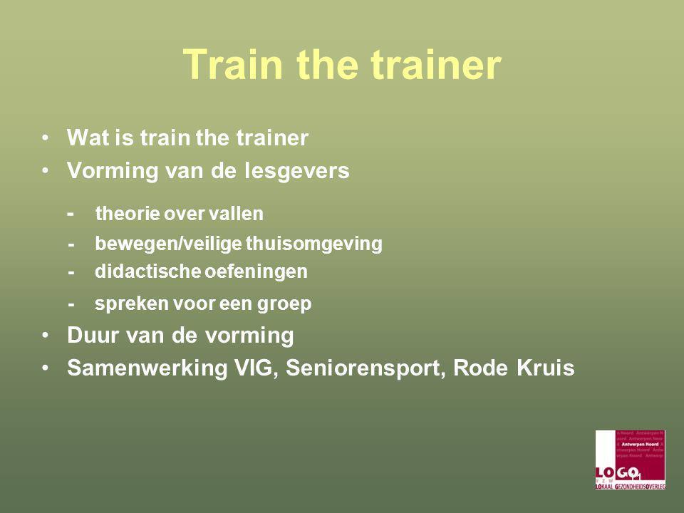 11 Train the trainer Wat is train the trainer Vorming van de lesgevers - theorie over vallen - bewegen/veilige thuisomgeving - didactische oefeningen