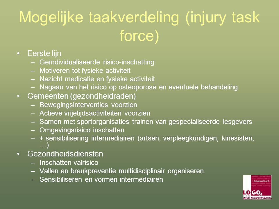 8 Mogelijke taakverdeling (injury task force) Eerste lijn –Geïndividualiseerde risico-inschatting –Motiveren tot fysieke activiteit –Nazicht medicatie