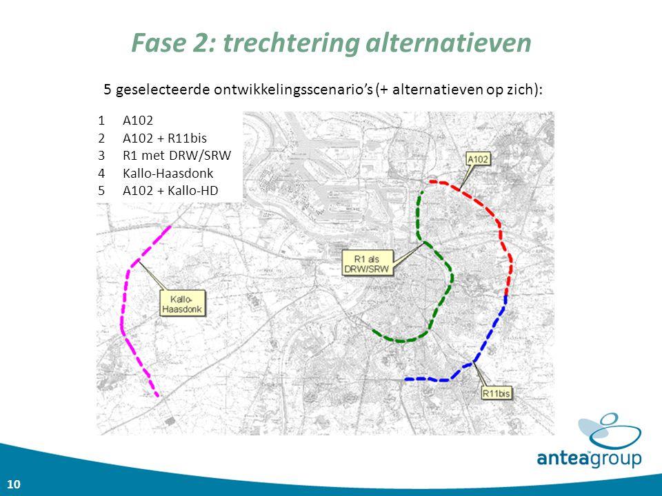 10 Fase 2: trechtering alternatieven 5 geselecteerde ontwikkelingsscenario's (+ alternatieven op zich): 1A102 2A102 + R11bis 3R1 met DRW/SRW 4Kallo-Ha
