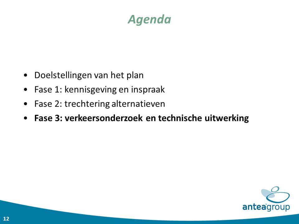 12 Agenda Doelstellingen van het plan Fase 1: kennisgeving en inspraak Fase 2: trechtering alternatieven Fase 3: verkeersonderzoek en technische uitwe