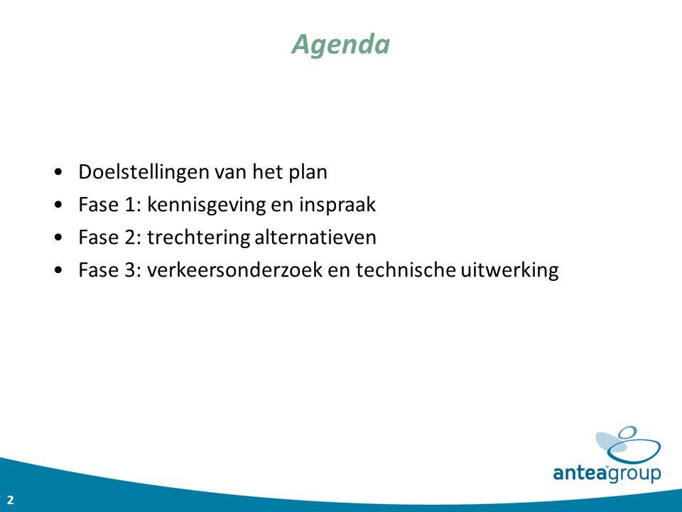 2 Agenda Doelstellingen van het plan Fase 1: kennisgeving en inspraak Fase 2: trechtering alternatieven Fase 3: verkeersonderzoek en technische uitwer
