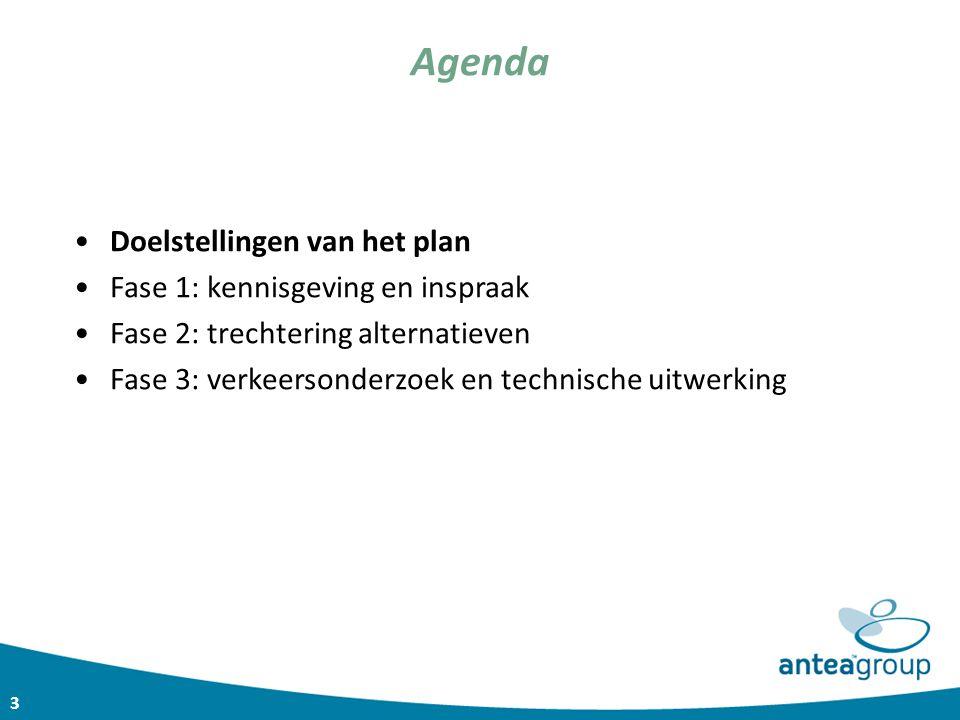 3 Agenda Doelstellingen van het plan Fase 1: kennisgeving en inspraak Fase 2: trechtering alternatieven Fase 3: verkeersonderzoek en technische uitwer