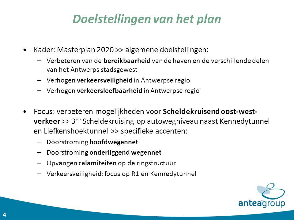 4 Doelstellingen van het plan Kader: Masterplan 2020 >> algemene doelstellingen: –Verbeteren van de bereikbaarheid van de haven en de verschillende de