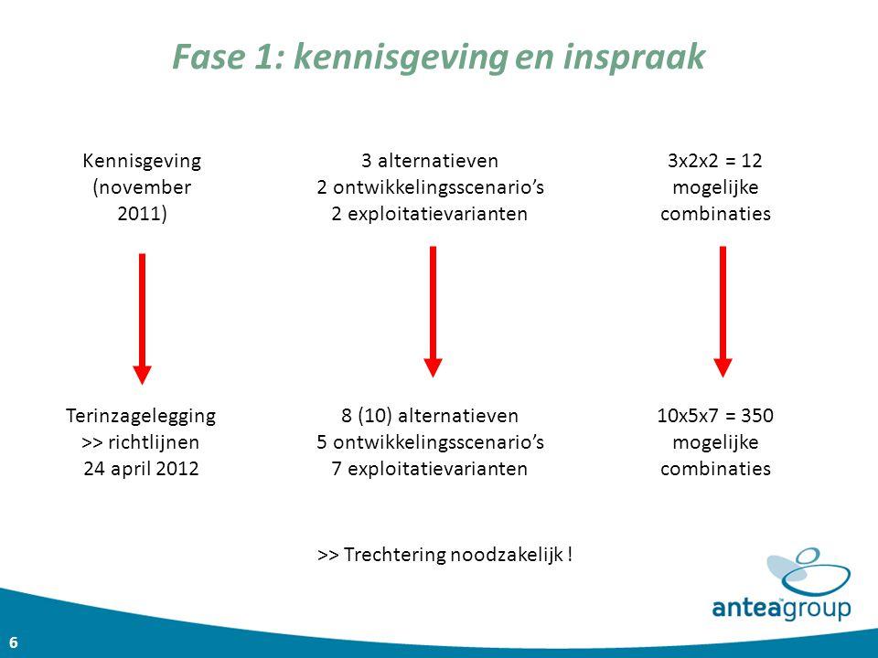 6 Fase 1: kennisgeving en inspraak 3 alternatieven 2 ontwikkelingsscenario's 2 exploitatievarianten 3x2x2 = 12 mogelijke combinaties 8 (10) alternatie