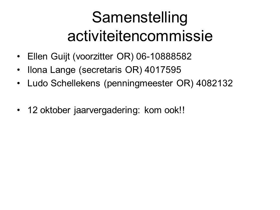 Samenstelling activiteitencommissie Ellen Guijt (voorzitter OR) 06-10888582 Ilona Lange (secretaris OR) 4017595 Ludo Schellekens (penningmeester OR) 4