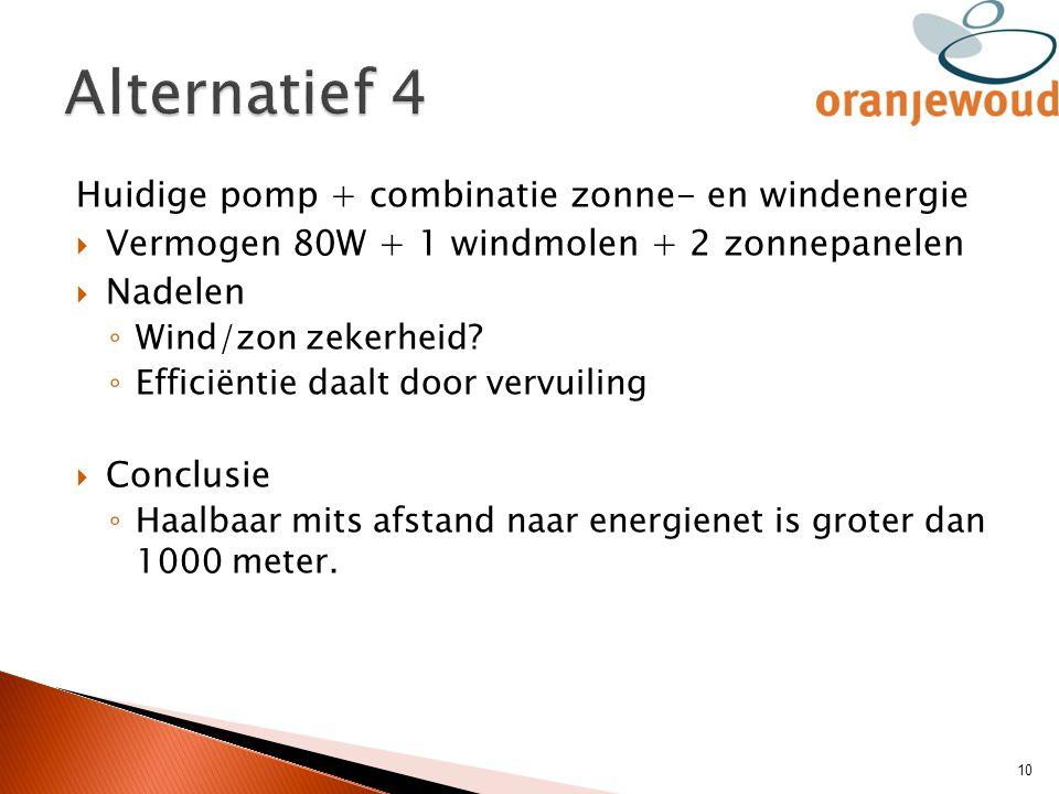 Huidige pomp + combinatie zonne- en windenergie  Vermogen 80W + 1 windmolen + 2 zonnepanelen  Nadelen ◦ Wind/zon zekerheid? ◦ Efficiëntie daalt door