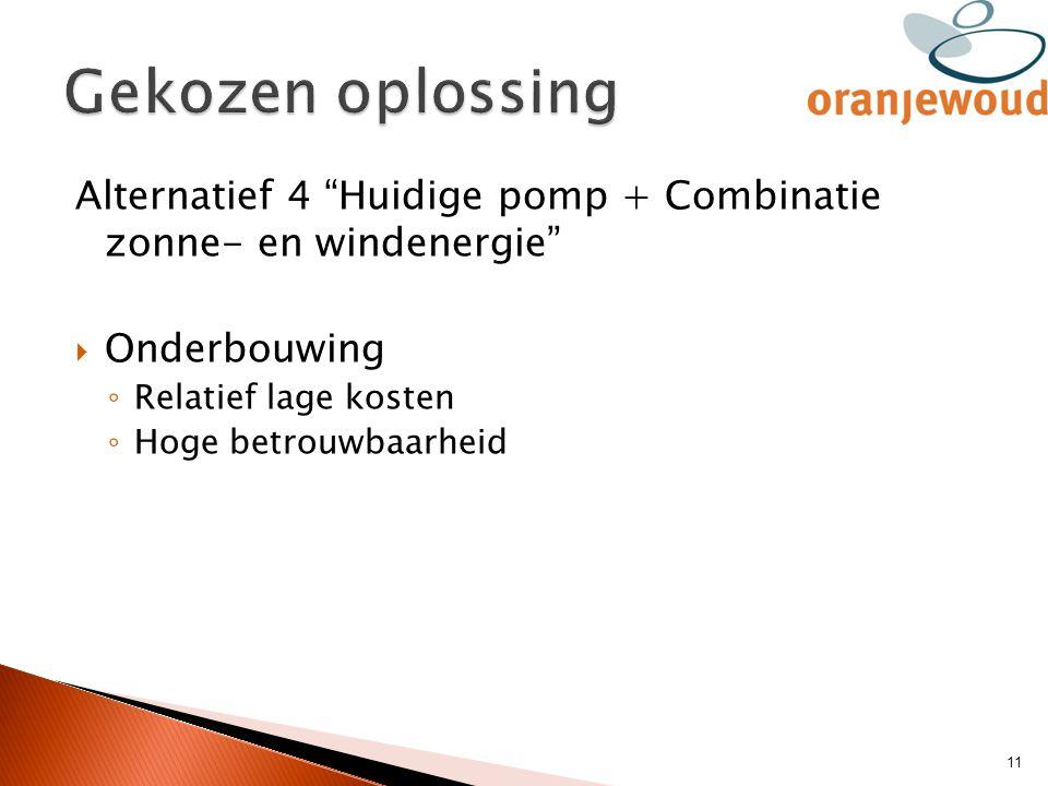 """Alternatief 4 """"Huidige pomp + Combinatie zonne- en windenergie""""  Onderbouwing ◦ Relatief lage kosten ◦ Hoge betrouwbaarheid 11"""