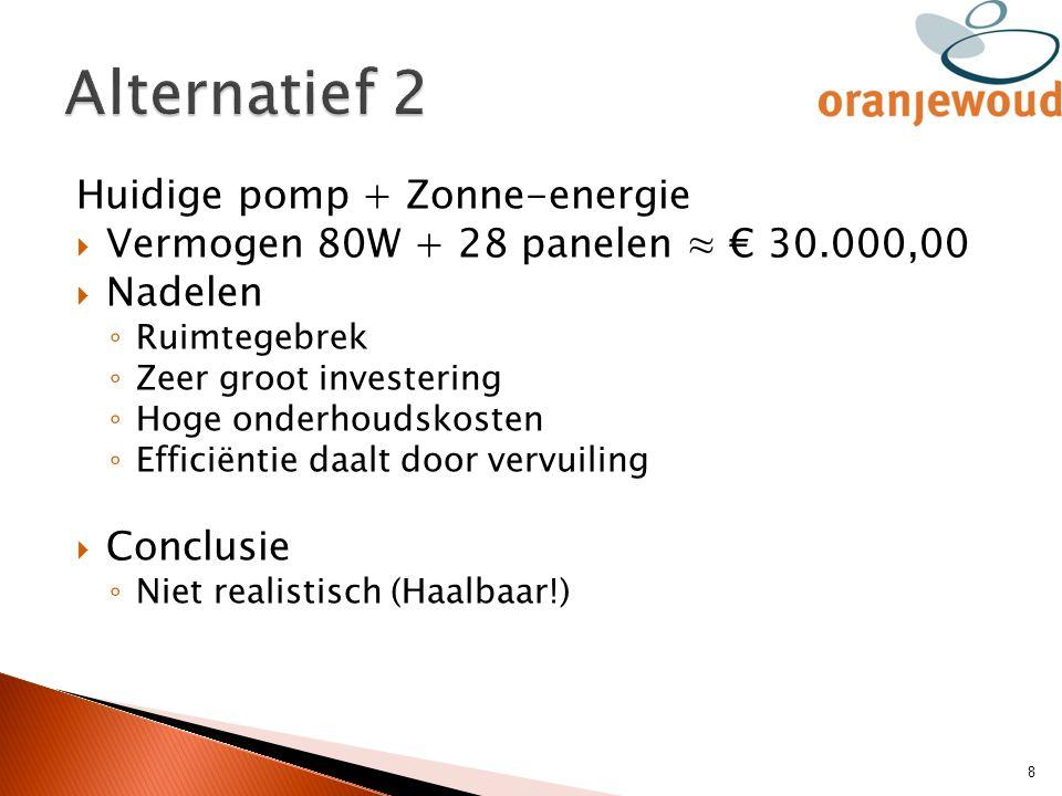 Huidige pomp + Zonne-energie  Vermogen 80W + 28 panelen ≈ € 30.000,00  Nadelen ◦ Ruimtegebrek ◦ Zeer groot investering ◦ Hoge onderhoudskosten ◦ Eff