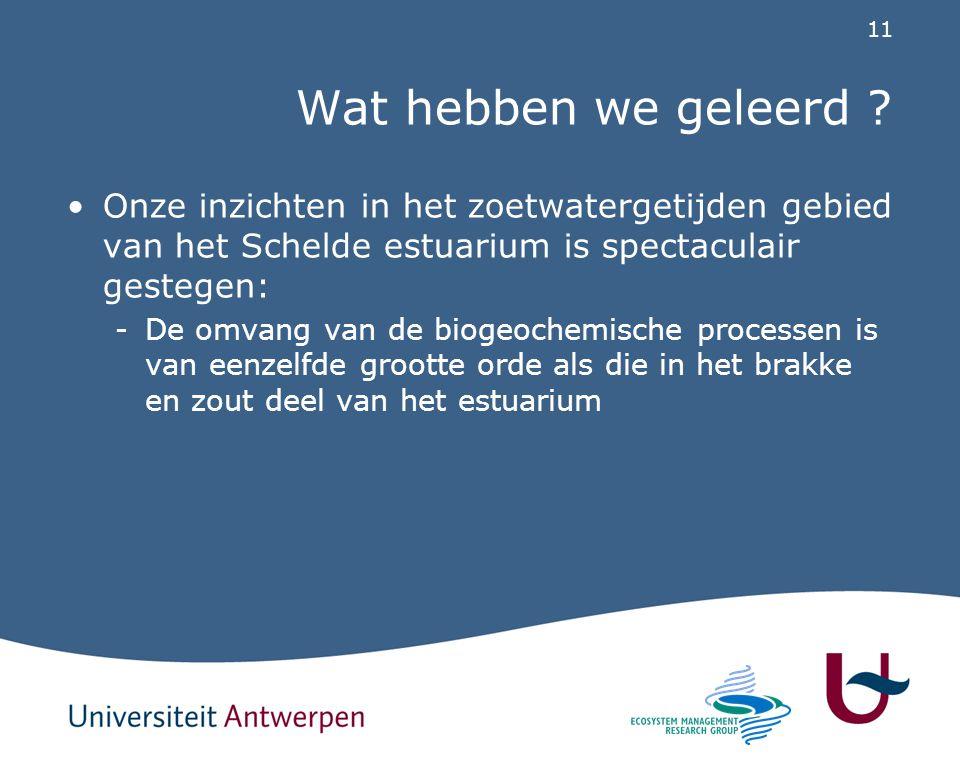 11 Wat hebben we geleerd ? Onze inzichten in het zoetwatergetijden gebied van het Schelde estuarium is spectaculair gestegen: -De omvang van de biogeo