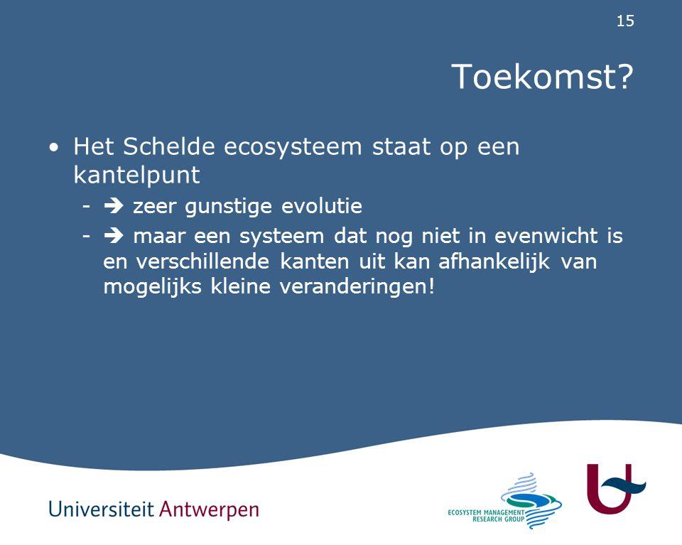 15 Toekomst? Het Schelde ecosysteem staat op een kantelpunt -  zeer gunstige evolutie -  maar een systeem dat nog niet in evenwicht is en verschille