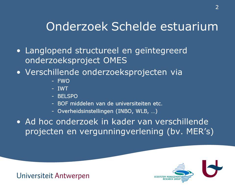 2 Onderzoek Schelde estuarium Langlopend structureel en geïntegreerd onderzoeksproject OMES Verschillende onderzoeksprojecten via -FWO -IWT -BELSPO -B