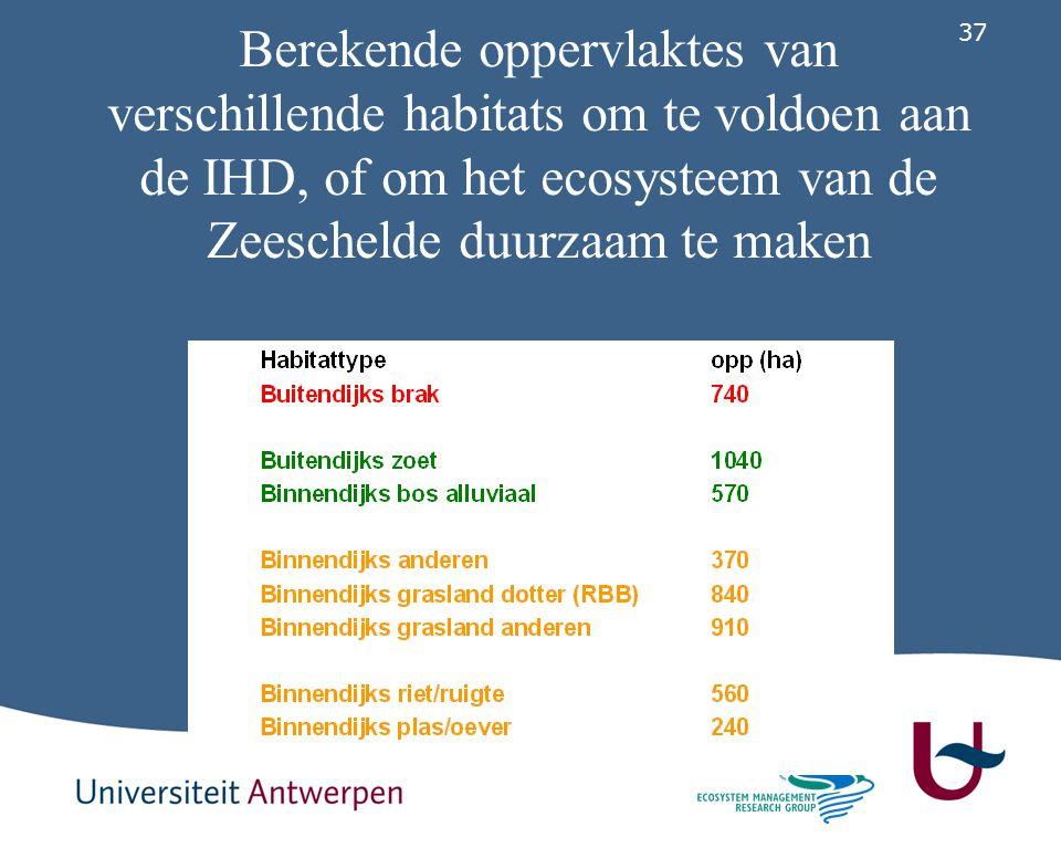 37 Berekende oppervlaktes van verschillende habitats om te voldoen aan de IHD, of om het ecosysteem van de Zeeschelde duurzaam te maken