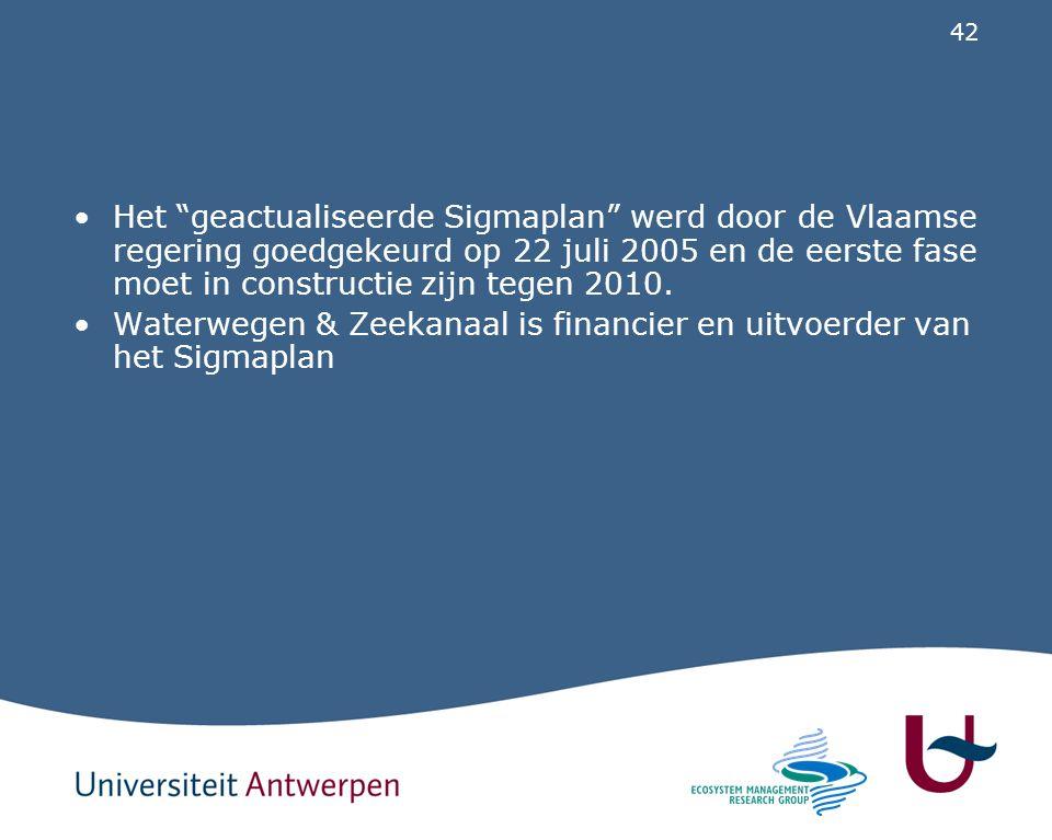 """42 Het """"geactualiseerde Sigmaplan"""" werd door de Vlaamse regering goedgekeurd op 22 juli 2005 en de eerste fase moet in constructie zijn tegen 2010. Wa"""