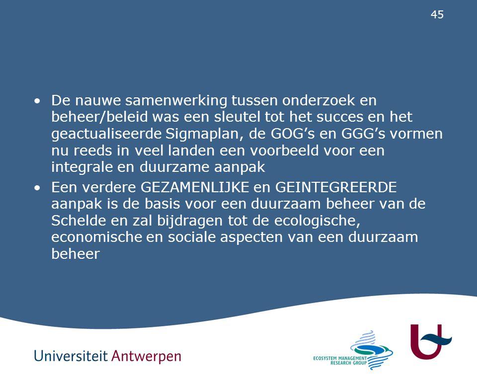 45 De nauwe samenwerking tussen onderzoek en beheer/beleid was een sleutel tot het succes en het geactualiseerde Sigmaplan, de GOG's en GGG's vormen n