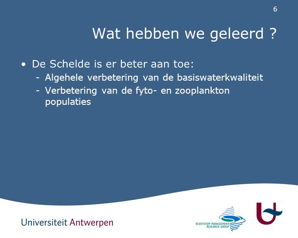 6 Wat hebben we geleerd ? De Schelde is er beter aan toe: -Algehele verbetering van de basiswaterkwaliteit -Verbetering van de fyto- en zooplankton po