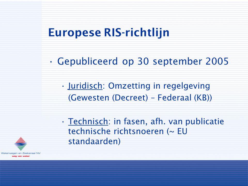 Europese RIS-richtlijn Gepubliceerd op 30 september 2005 Juridisch: Omzetting in regelgeving (Gewesten (Decreet) – Federaal (KB)) Technisch: in fasen, afh.