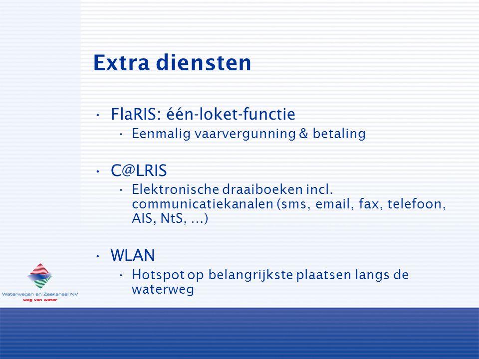 Extra diensten FlaRIS: één-loket-functie Eenmalig vaarvergunning & betaling C@LRIS Elektronische draaiboeken incl.