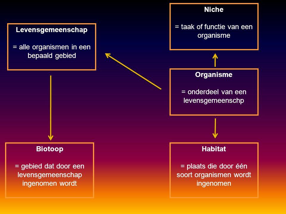 Levensgemeenschap = alle organismen in een bepaald gebied Organisme = onderdeel van een levensgemeenschp Biotoop = gebied dat door een levensgemeenschap ingenomen wordt Habitat = plaats die door één soort organismen wordt ingenomen Niche = taak of functie van een organisme
