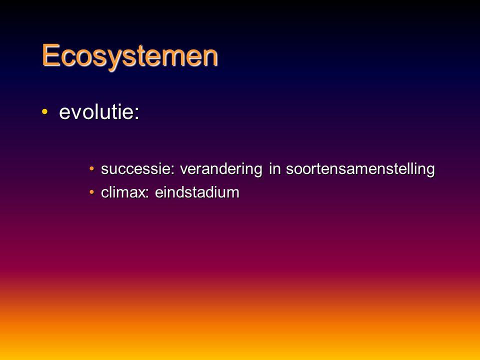 Ecosystemen evolutie:evolutie: successie: verandering in soortensamenstellingsuccessie: verandering in soortensamenstelling climax: eindstadiumclimax: eindstadium