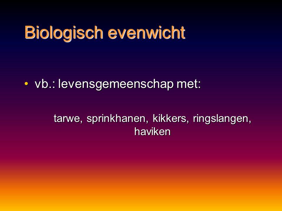 Biologisch evenwicht vb.: levensgemeenschap met:vb.: levensgemeenschap met: tarwe, sprinkhanen, kikkers, ringslangen, haviken