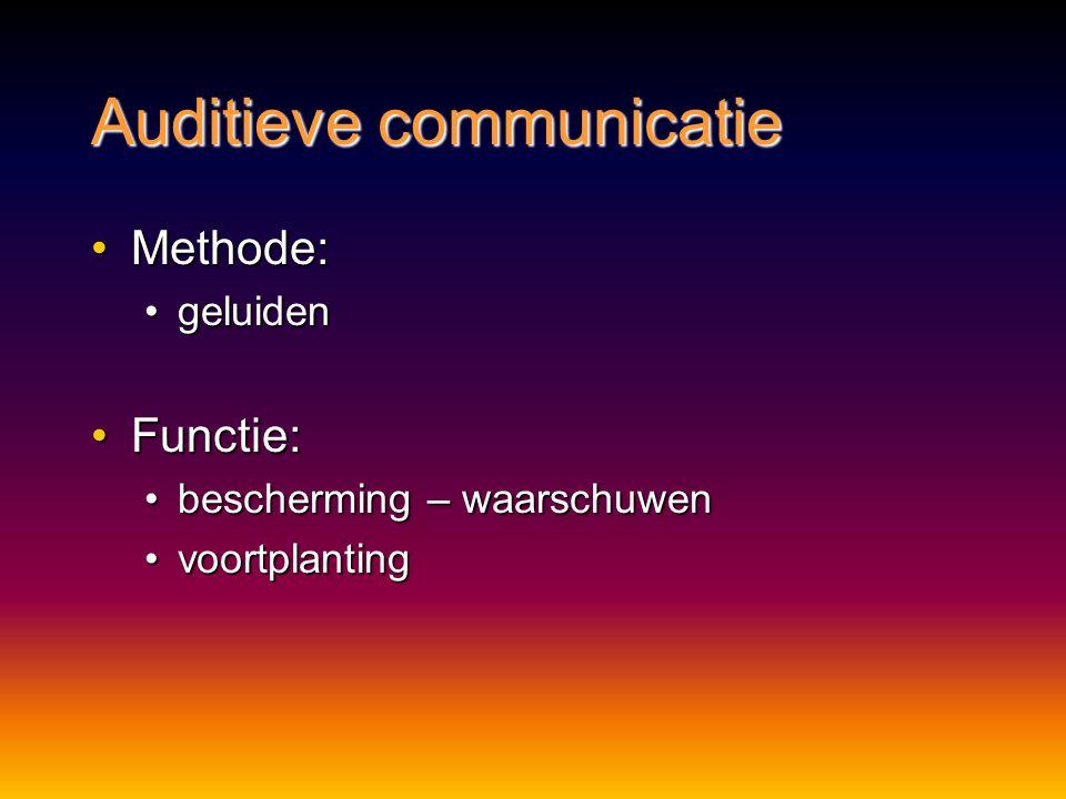 Chemische communicatie Voordelen:Voordelen: geen hinder van obstakels of duisternisgeen hinder van obstakels of duisternis werkt op korte en lange afs