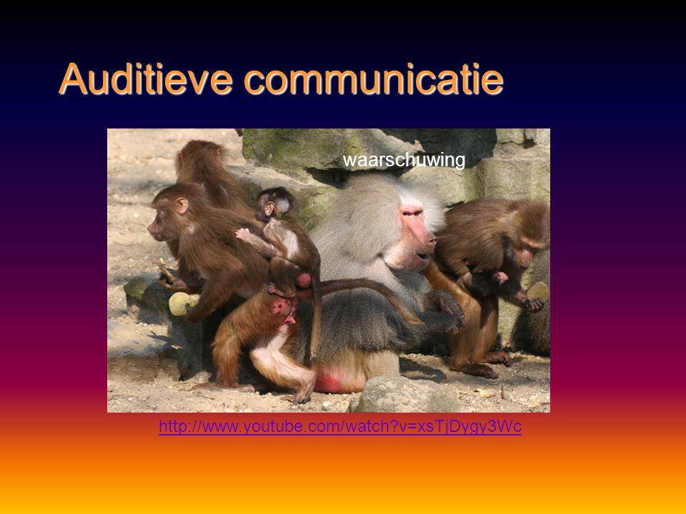 Auditieve communicatie Methode:Methode: geluidengeluiden Functie:Functie: bescherming – waarschuwenbescherming – waarschuwen voortplantingvoortplantin