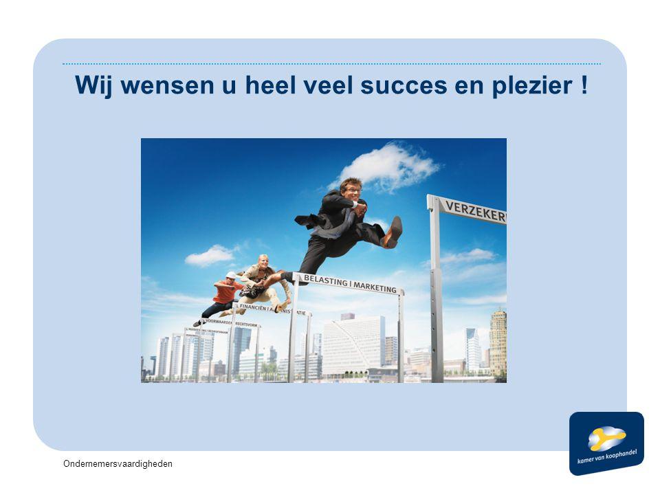 Ondernemersvaardigheden Wij wensen u heel veel succes en plezier !