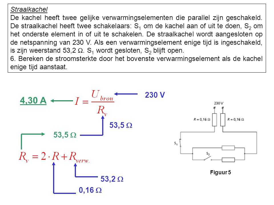 Straalkachel De kachel heeft twee gelijke verwarmingselementen die parallel zijn geschakeld. De straalkachel heeft twee schakelaars: S 1 om de kachel