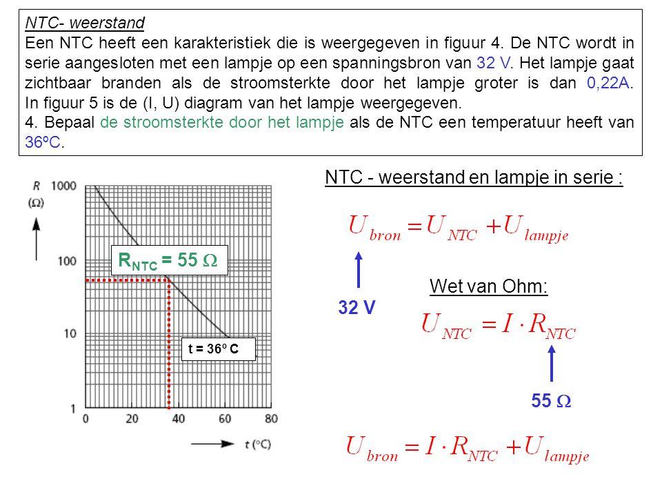 NTC - weerstand en lampje in serie : 32 V Wet van Ohm: 55  10 V 0,40 A NTC- weerstand 4.
