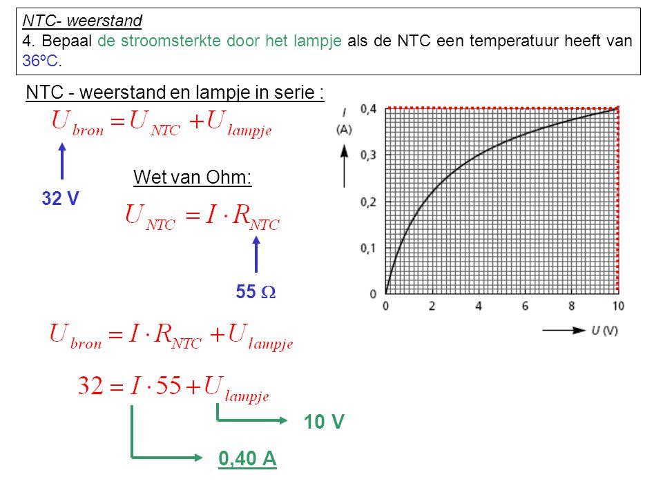 NTC - weerstand en lampje in serie : 32 V Wet van Ohm: 55  10 V 0,40 A NTC- weerstand 4. Bepaal de stroomsterkte door het lampje als de NTC een tempe