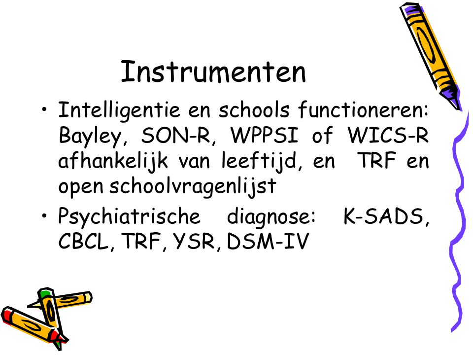 Kinderpsychiatrische diagnoses Group 1 (n=14) Group 2 (n=10) Group 3 (n=6) Total (n=30) Numb.