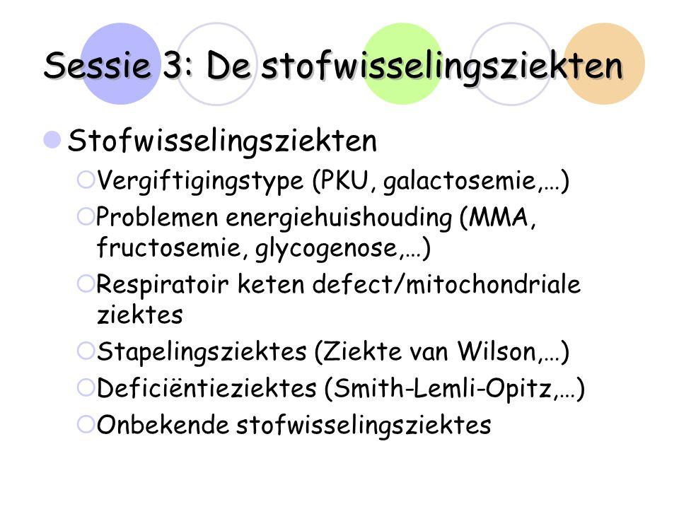 Sessie 3: De stofwisselingsziekten Stofwisselingsziekten  Vergiftigingstype (PKU, galactosemie,…)  Problemen energiehuishouding (MMA, fructosemie, g