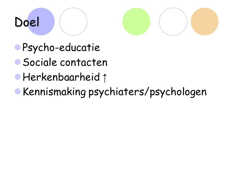 Doel Psycho-educatie Sociale contacten Herkenbaarheid ↑ Kennismaking psychiaters/psychologen
