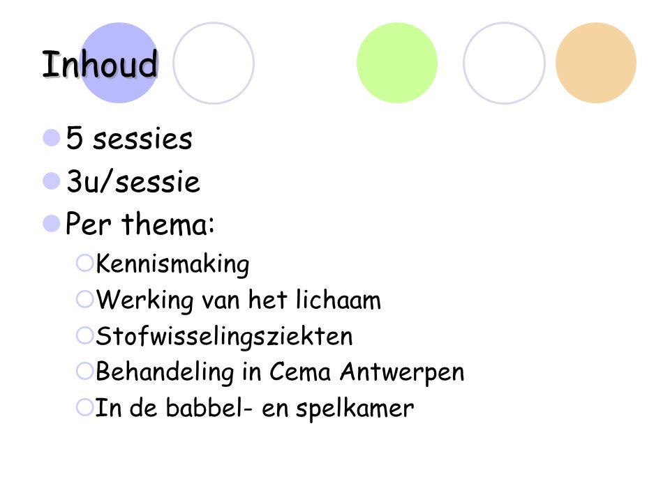 Inhoud 5 sessies 3u/sessie Per thema:  Kennismaking  Werking van het lichaam  Stofwisselingsziekten  Behandeling in Cema Antwerpen  In de babbel-