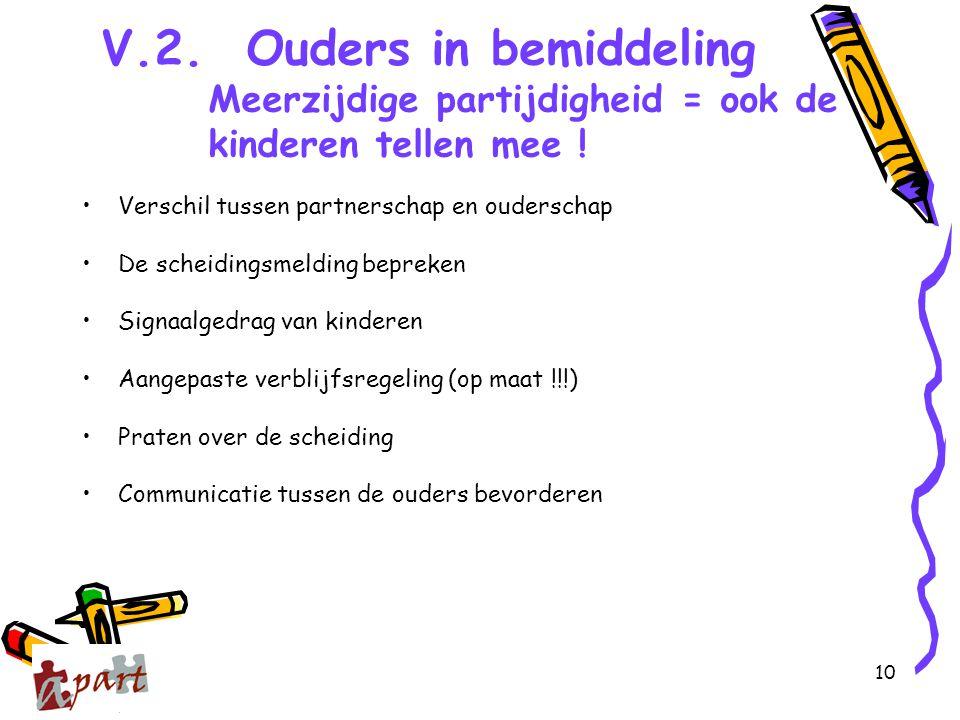 10 V.2. Ouders in bemiddeling Meerzijdige partijdigheid = ook de kinderen tellen mee ! Verschil tussen partnerschap en ouderschap De scheidingsmelding