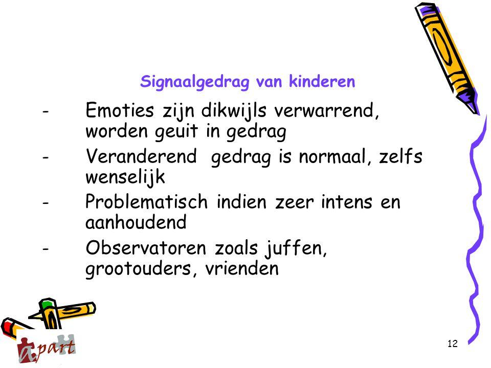 12 Signaalgedrag van kinderen - Emoties zijn dikwijls verwarrend, worden geuit in gedrag - Veranderend gedrag is normaal, zelfs wenselijk - Problemati
