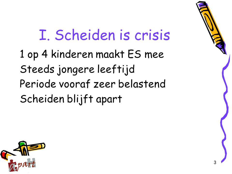 3 I. Scheiden is crisis 1 op 4 kinderen maakt ES mee Steeds jongere leeftijd Periode vooraf zeer belastend Scheiden blijft apart