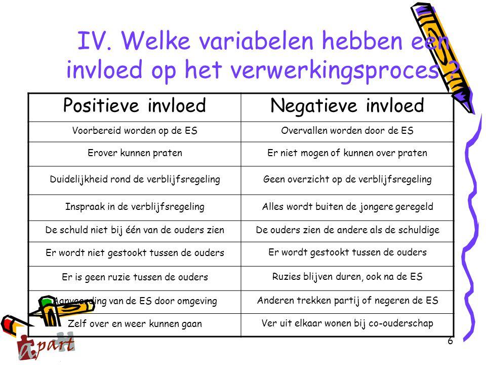 6 IV. Welke variabelen hebben een invloed op het verwerkingsproces ? Positieve invloedNegatieve invloed Voorbereid worden op de ESOvervallen worden do