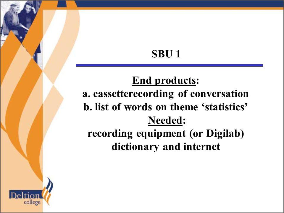 Je hebt deze opdracht naar behoren uitgevoerd als je vlot over een vrij wetenschappelijk onderwerp gegevens van statistische aard kunt uitwisselen met een ander, waarbij je specialistische taal moet gebruiken.