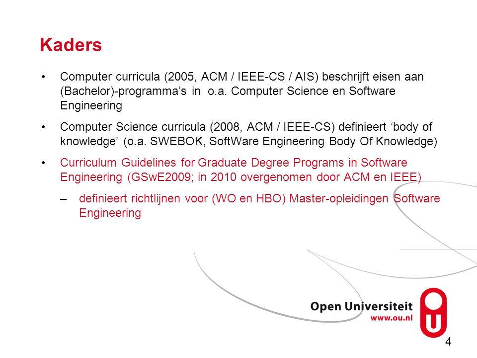 4 Kaders Computer curricula (2005, ACM / IEEE-CS / AIS) beschrijft eisen aan (Bachelor)-programma's in o.a.