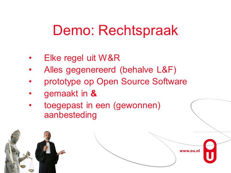 Demo: Rechtspraak Elke regel uit W&R Alles gegenereerd (behalve L&F) prototype op Open Source Software gemaakt in & toegepast in een (gewonnen) aanbesteding
