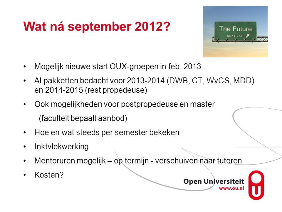 Wat ná september 2012? Mogelijk nieuwe start OUX-groepen in feb. 2013 Al pakketten bedacht voor 2013-2014 (DWB, CT, WvCS, MDD) en 2014-2015 (rest prop