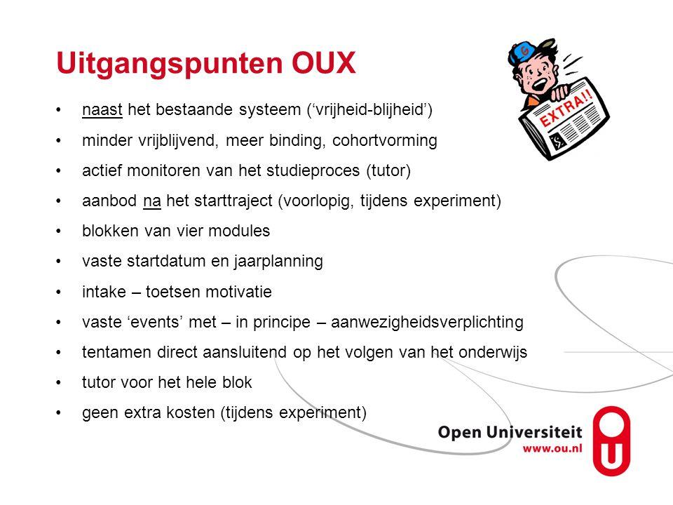 Uitgangspunten OUX naast het bestaande systeem ('vrijheid-blijheid') minder vrijblijvend, meer binding, cohortvorming actief monitoren van het studiep