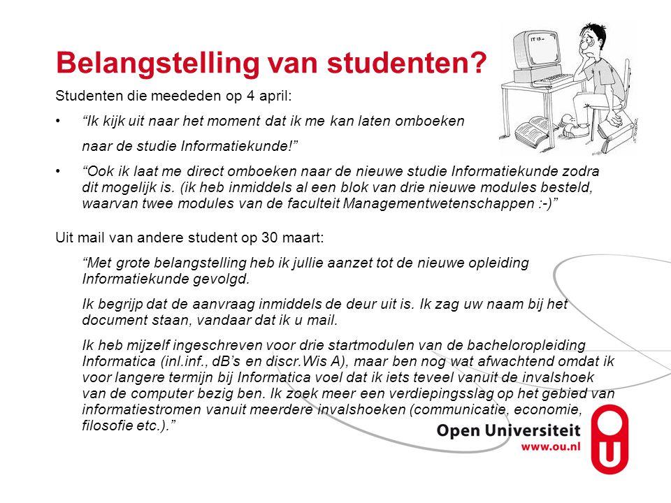 Belangstelling van studenten.