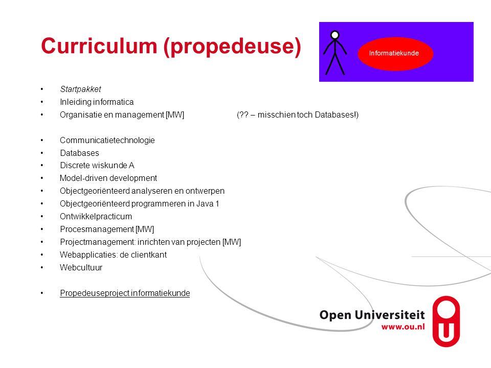 Curriculum (propedeuse) Startpakket Inleiding informatica Organisatie en management [MW](?.