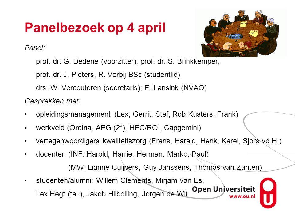 Panelbezoek op 4 april Panel: prof. dr. G. Dedene (voorzitter), prof.
