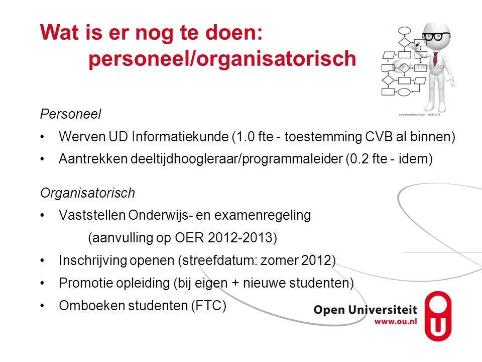 Wat is er nog te doen: personeel/organisatorisch Personeel Werven UD Informatiekunde (1.0 fte - toestemming CVB al binnen) Aantrekken deeltijdhoogleraar/programmaleider (0.2 fte - idem) Organisatorisch Vaststellen Onderwijs- en examenregeling (aanvulling op OER 2012-2013) Inschrijving openen (streefdatum: zomer 2012) Promotie opleiding (bij eigen + nieuwe studenten) Omboeken studenten (FTC)